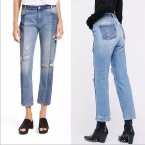 Free People The Patchwork two tone jeans